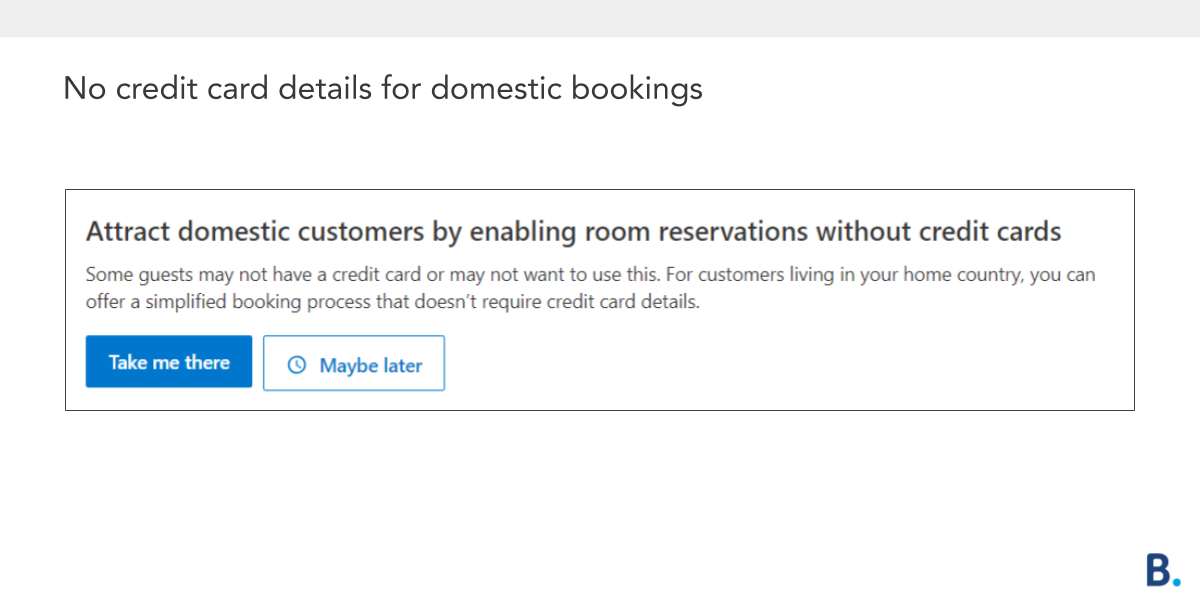 No credit card details domestic bookings